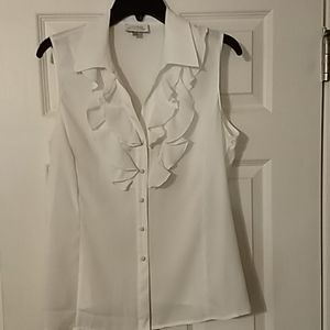Tahari button down white RUFFLE NECK blouse M